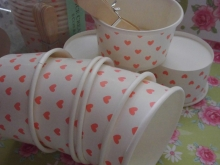 "8 ICE CREAM Cups ""ROSE HEARTS"" ♥"
