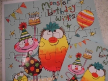 "♥ PUZZLE-KARTE ""Monster Birthday Wishes"""