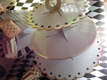 ♥ Muffin- & Cupcakestand BLACK DOTS-WHITE-GOLD