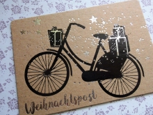 Good old friends Winter Postkarte Fahrrad
