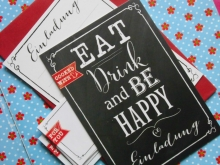 ♥ 6er Set EINLADUNGS- KARTEN♥ EAT DRINK & BE HAPPY